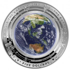 1 Unze Silber EARTH AND BEYOND - ERDE - 1 OZ  ERSTMALS KONVEXE SEITE IN FARB