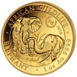 1 oz Unze Gold Somalia Elefant 2004-2018 15 Jahre Jubiläum