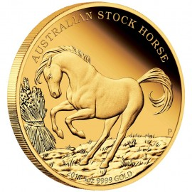 5 oz Unze Gold Stock Horse PP mit Box 2018