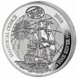 1 Unze Silber Ruanda Nautical HMS Endeavour 2018 PP