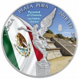 1 Unze Silber Mexiko Libertad 2018 farbig Pyramide von Cholula