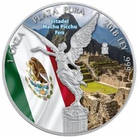 1 Unze Silber Mexiko Libertad 2018 farbig Machu Picchu