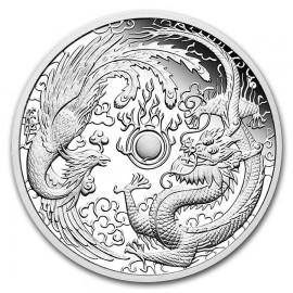1 Unze Silber Dragon Phoenix Tuvalu  Perth Mint 2018  PP