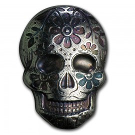 2 Unzen Silber 999 Handgegossener Skull Day of the Dead: Marigold