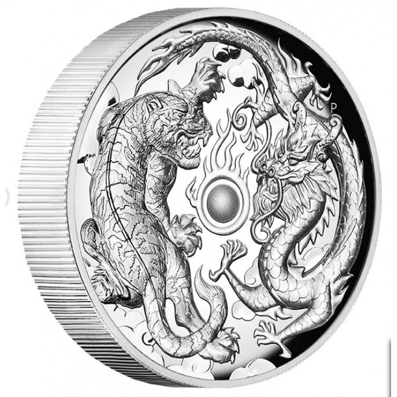 2 Unze Silber Dragon Phoenix Tuvalu  Perth Mint 2018  PP
