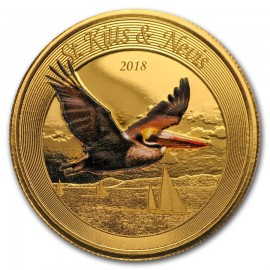 1 Unze oz Gold 2018 St Kitts Pelican farbig