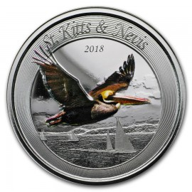 1 Unze Silber 2018 St Kitts Pelican farbig