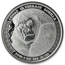 1 Unze Silber  Silberrücken Gorilla Kongo 2018