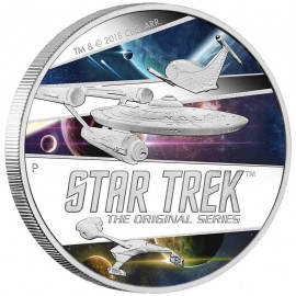 2 Unze Silber Tuvalu - 1 $ 2018 Ships Star Trek 2 Oz. Silber PP Farbig