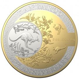 5  Unzen Silber  Dollar 25th Anniversary Kangaroo Series Känguru PP 2018 Teilvergoldet