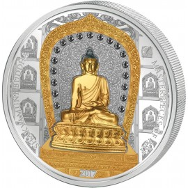 3 Unzen Silber 2017 Cook Islands  25 und 20 $ Shakyamuni Buddha 2017 3 Oz Silber + 1/4 Oz Gold RAR