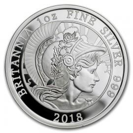 1 Unze Silber Britannia UK 2018   PP 2 Pfund  Silber PP