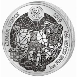 1 Unze Silber Ruanda Schwein 2019 PP