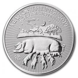 1 Unze Silber Lunar UK 2019 Pig Schwein