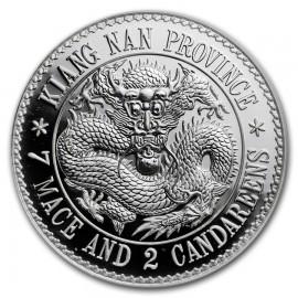 1 Unze Silber 2018 China 1 oz Silver Dragon Dollar Restrike (PU)