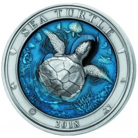 3 Unzen Silber  Turtle Barbados 2018 AF coloured