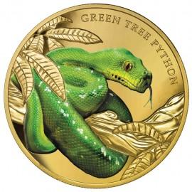 1 Unze Gold Grüne Baumpython  2019 Serie Bemerkenswerte Reptilien Niue