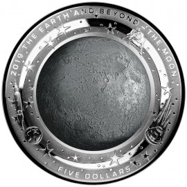 1 Unze Silber EARTH AND BEYOND - moon - 1 OZ  ERSTMALS KONVEXE SEITE IN FARB