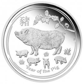 1 oz Silber Schwein Lunar II 2019 PP Pig