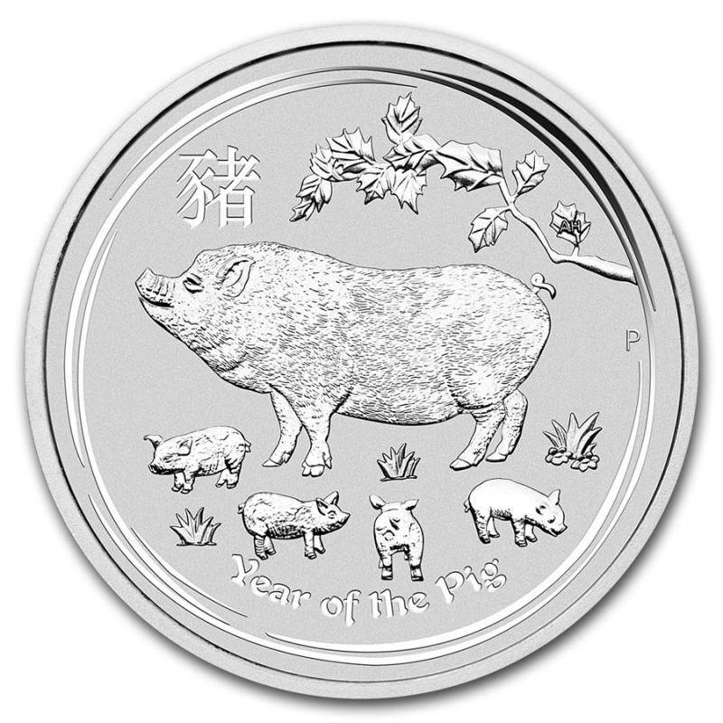 2 Unzen Silber Schwein  Lunar II 2019
