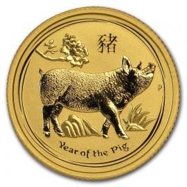 1/10 oz Gold Lunar II Schwein Pig 2019