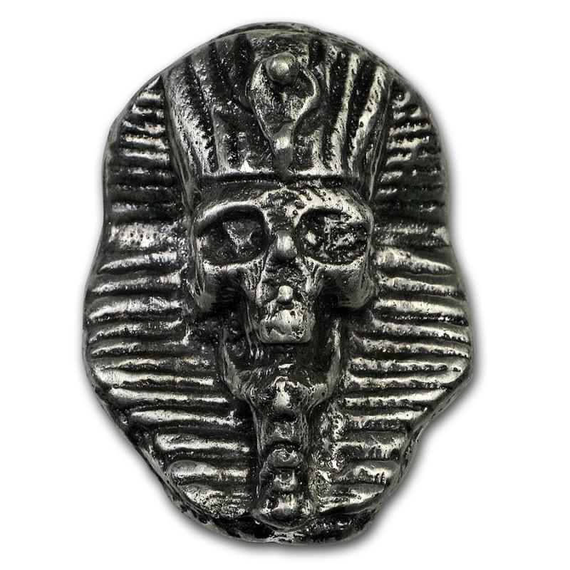 2 Unze oz Silber    Pharaoh Skull handgegossen