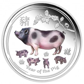 1 oz Silber pig Lunar II 2019 PP coloured