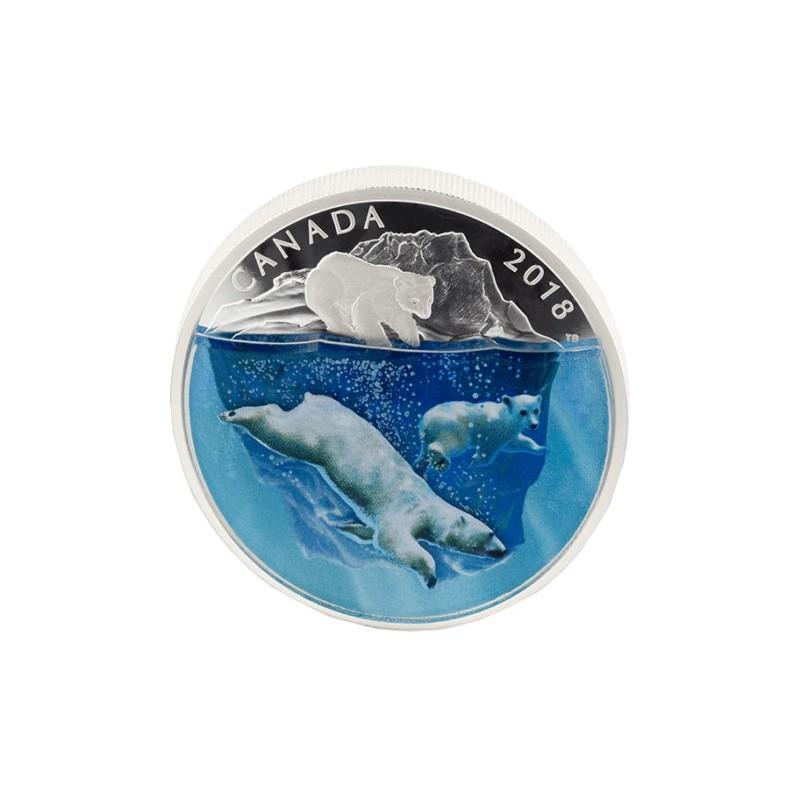 2 Unzen Silber 30 $ Canada Polar Bear 3D