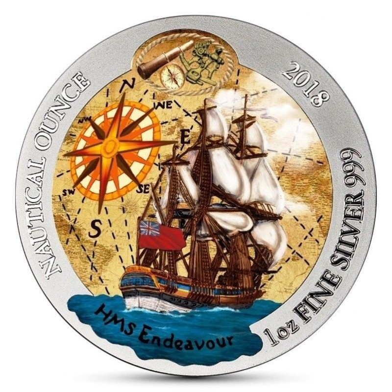 1 Unze Silber Nautical Endevour Ruanda 2018 Farbig