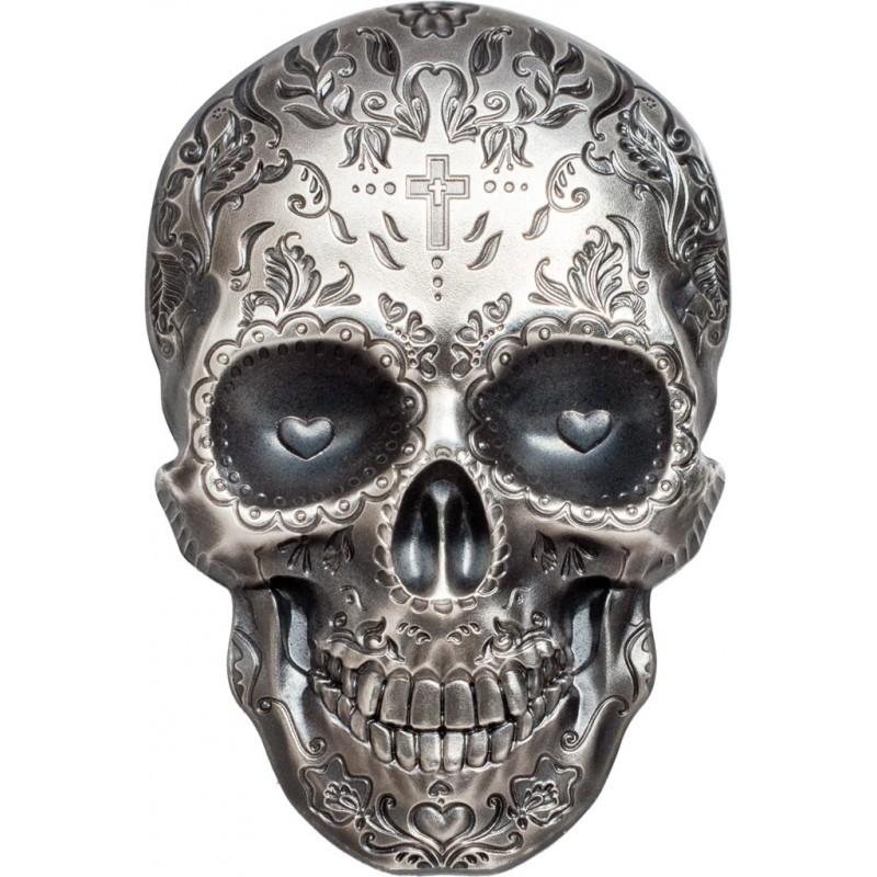 1 Unze Silber Catrina Skull 1 High Relief Palau