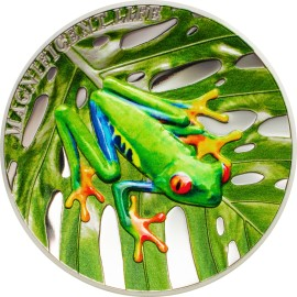 1 Unze Silber Cook Islands  Tree Frog Baumfrosch High Relief