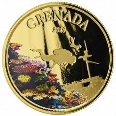 1 Unze oz Gold 2018 Grenada Diving Paradies farbig