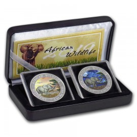 2 x 1oz Somalia Elefant Set Tag & Nacht 2019