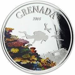 1 Unze Silber 2018 Grenada Diving Paradies farbig