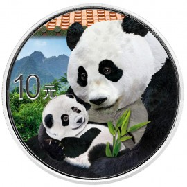 30 Gramm  China Silber Panda 2019 Coloriert  Variante Rotes Dach