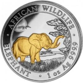 1 oz Silver Somalia Elefant 2018 Gilded