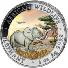 1 Unze Silber Somalia Elefant 2019 Coloriert