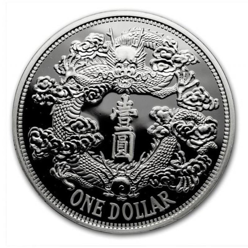 1 Unze Silber 2018 China Tiensin Dragon Dollar Restrike (PU)