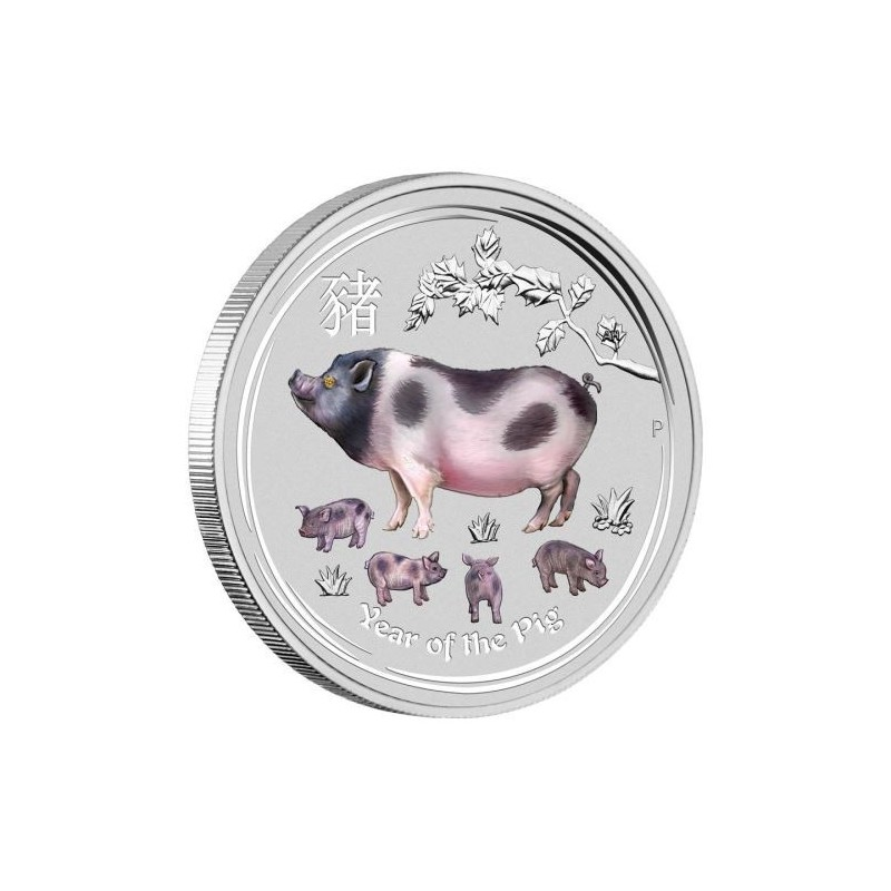 1 Kg Silber Schwein Lunar II 2019 mit Diamantauge  coloriert PIG