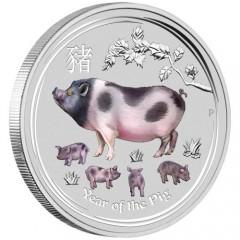 1 Kg Silber SchweinLunar II 2019 mit Diamantauge  coloriert pig