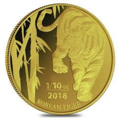 1/10 oz Unze  Gold Korean Tiger 2018 Blister