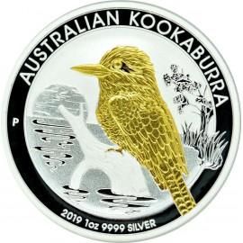 1 Unze Silber Australien Kookaburra 2019 Gilded