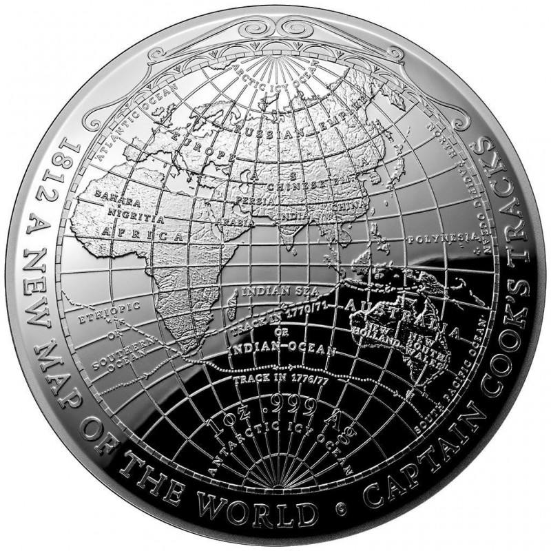 1 unze silber Weltkarte 1812 terrestrial-dome-serie-2018-pp