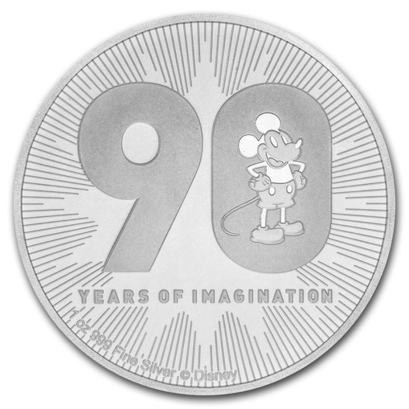 1 Unze Silber 90 Jahre  Mickey Mouse Disney 2018