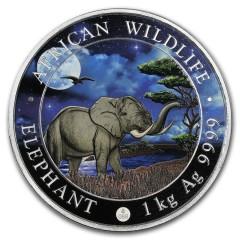 1 Kilo Silber Somalia Elefant 2019 Night Edition Giant Moon  farbig