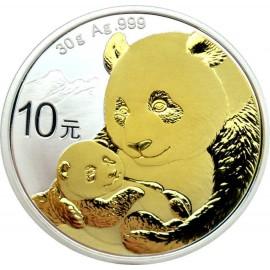 30 Gramm  China Silber Panda 2019  Gilded