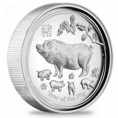 1 oz Silber Schwein Pig Lunar II 2019 High Relief