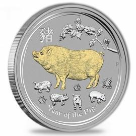 1 Unze  Lunar 2 Schwein pig  Gilded  mit Box 2019
