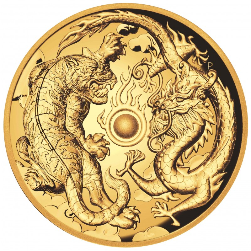 2 oz Unze Gold Drache + Tiger Perth Mint 2018  PP High Relief