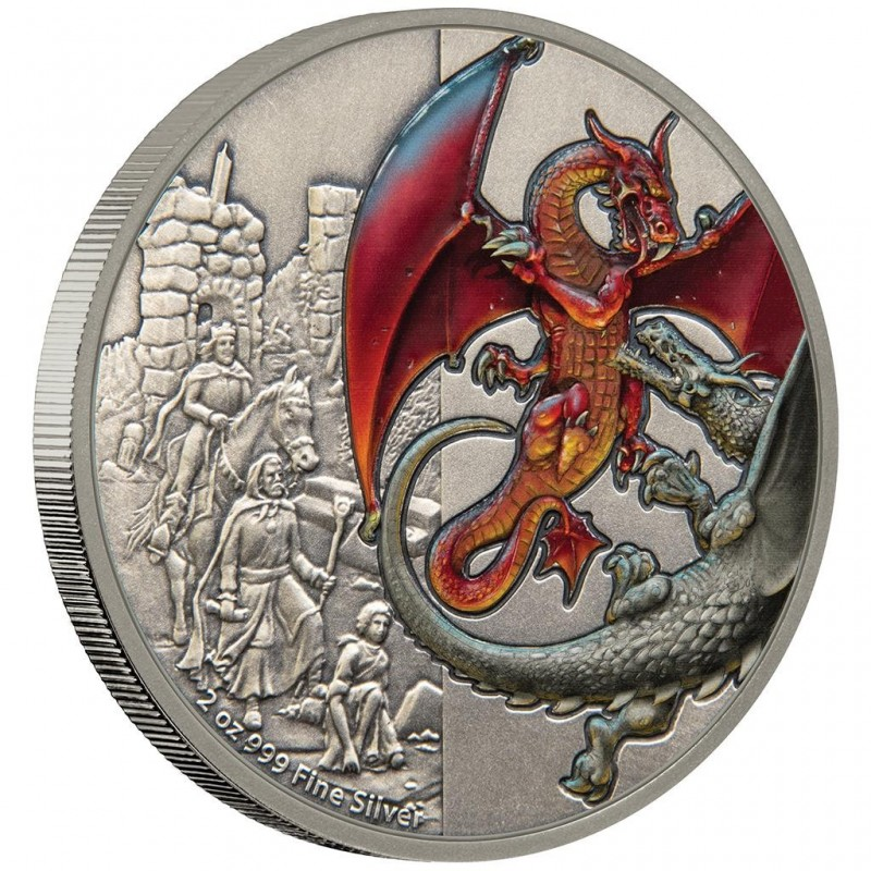 2 Unzen Silber Red Dragon 2018 Niue